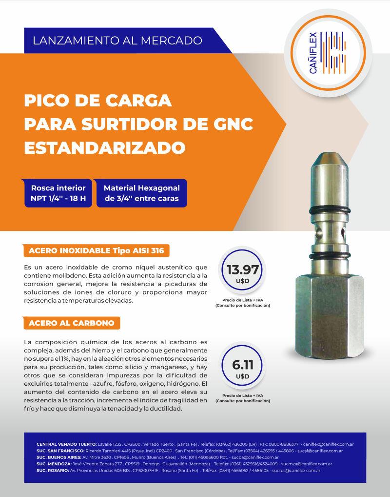 Pico de Carga para surtidor de GNC Estandarizado